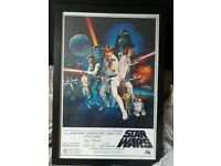Framed star wars poster