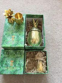 Pineapple Co tumbler and shot glasses