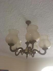 Ceiling chandelier arm lights x2 plus Wall Lights x4