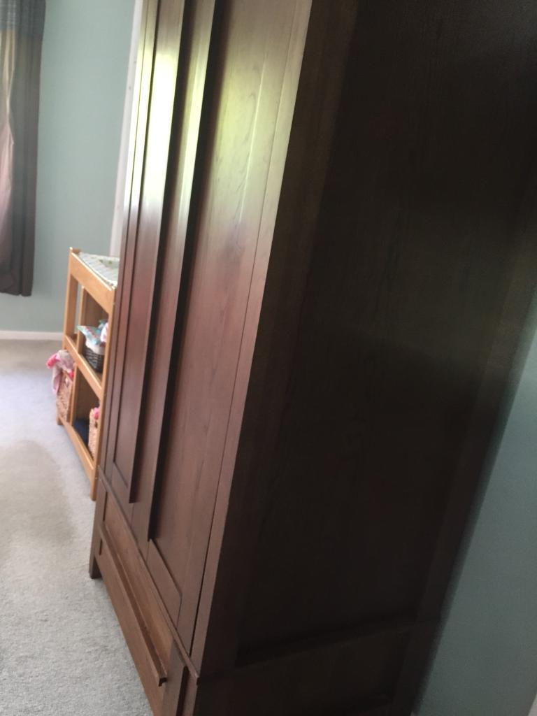 Solid dark wood wardrobe