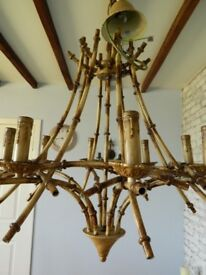 HUGE 8 ARM COACH HOUSE CHANDELIER ANTIQUE BAMBOO STYLE CEILING LIGHT TOLEWARE