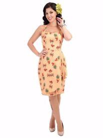 Collectif Leelu Palm Sarong Tiki Summer Dress Rockabilly Vintage 1950s