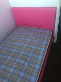 Pink single bed with mattress £55