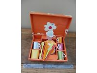 Boxed set of heart shaped coffee cups , saucers and spoons.