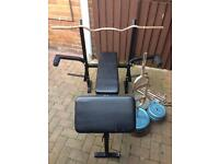130kg metal weights, bench & bars.