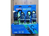 4 piece Ratchet Tie Downs (boxed and unused) 5m length, 25mm width