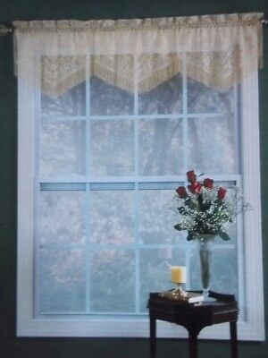 GOLD LACE CURTAIN TIER VALANCE CHANTILLY WINDOW 60 X 16 FRINGED FLORAL (16 Curtain Valance)