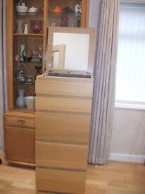 IKEA TALL MALM DRAWER UNIT.WITH TOP OPENING MIRROR