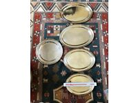 silver plate serving dishes - four oval and one round. Early 20th century