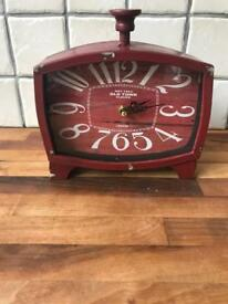 REDUCED Red Metal Mantle Style Clock