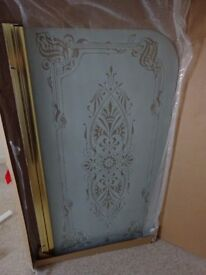 Shower Screen - White Frosted Patterned Glass - Gold Trimmed - Centre Swing 1300mm x75mm - BRAND NEW