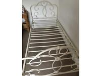 Flower scroll metal bed frame single