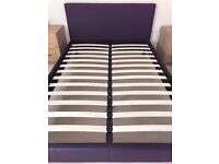 Black faux leather double bed frame