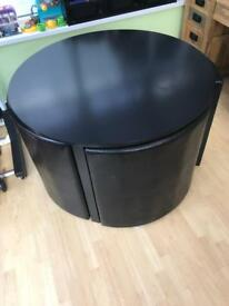 Compact round table and 4 chairs
