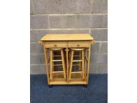 Pine Kitchen Trolley With Drop Leaf Table And Two Stools