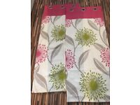 """Fuschia Pink, Green and Cream Curtains, from Dunelm Mill, Never hung, Lined, eyelets, 90""""x55"""""""