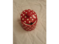 red with white dot sugar pot