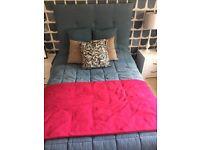 Blue & Pink Denim Headboard, Stool, Cushions & Throws