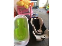 *£15 only -Car seat & New Baby bath + baby seat