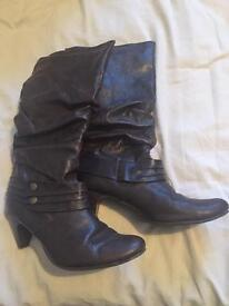 Brown faux leather boots, UK size 6
