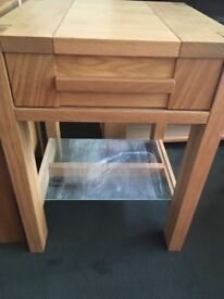 Wooden and glass bedside or sofa-side table