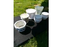 Six ceramic plant pots