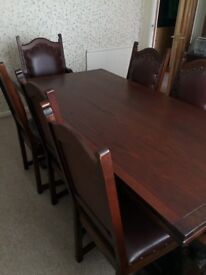 OLD CHARM DINING TABLE + 8 CHAIRS (2 CARVERS)