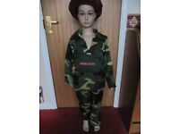 NEW army boy costume by smiffys. Top, Trousers Backpack and red beret hat.