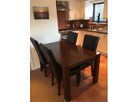 Greenwich oak dining table and feux leather chairs ( brown )