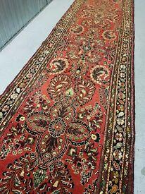 RARE Vintage Hand Woven Tribal Persian Hamadan Runner rug 430x105 cm