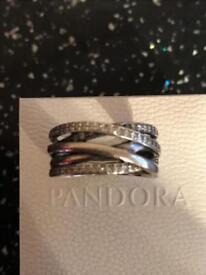 Love knot pandora silver ring