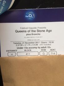 2x Queens of the Stone Age tickets, The O2 London, 21/11/17