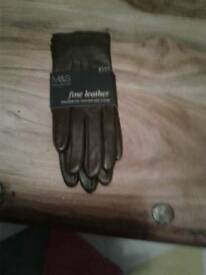 MARKS & SPENCER M&S CHOCOLATE BROWN GLOVES SZ SMALL