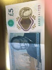New five pound note AA40 141723