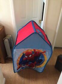Kids spider man pop up tent