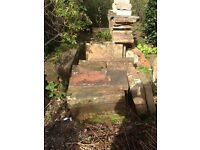 Selection of cut sandstone slabs and steps in good condition.