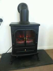 Electric burner, hearth and chimney