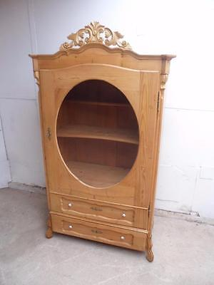 A Rare Beautifully Waxed Glazed Oval 1 Door 1 Drawer Display Cabinet