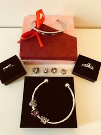 Pandora Style Ring, Bangle, Charms and Love Cuff