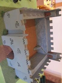 Homemade wooden & polystyrene castle on wood base - £5