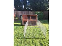 Rabbit hutch with insulation and water proof cover also large run