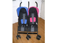 Obaby Apollo Double/ Twin Stroller/ Buggy/ Pushchair pink and blue. Can be from birth. VGC, clean