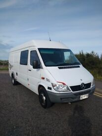 MERCEDES SPRINTER LWB, ONLY 55K MILES. 7K WATT GENNY ON BOARD. RACE VAN CAMPERVAN
