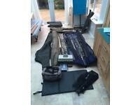 Assorted fishing gear (carp, reel, match, rods)
