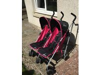 4baby pink double buggy