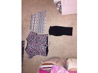 Mini skirt, girls leopard print top and leggings