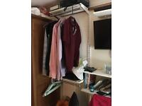Storage shelves and rail