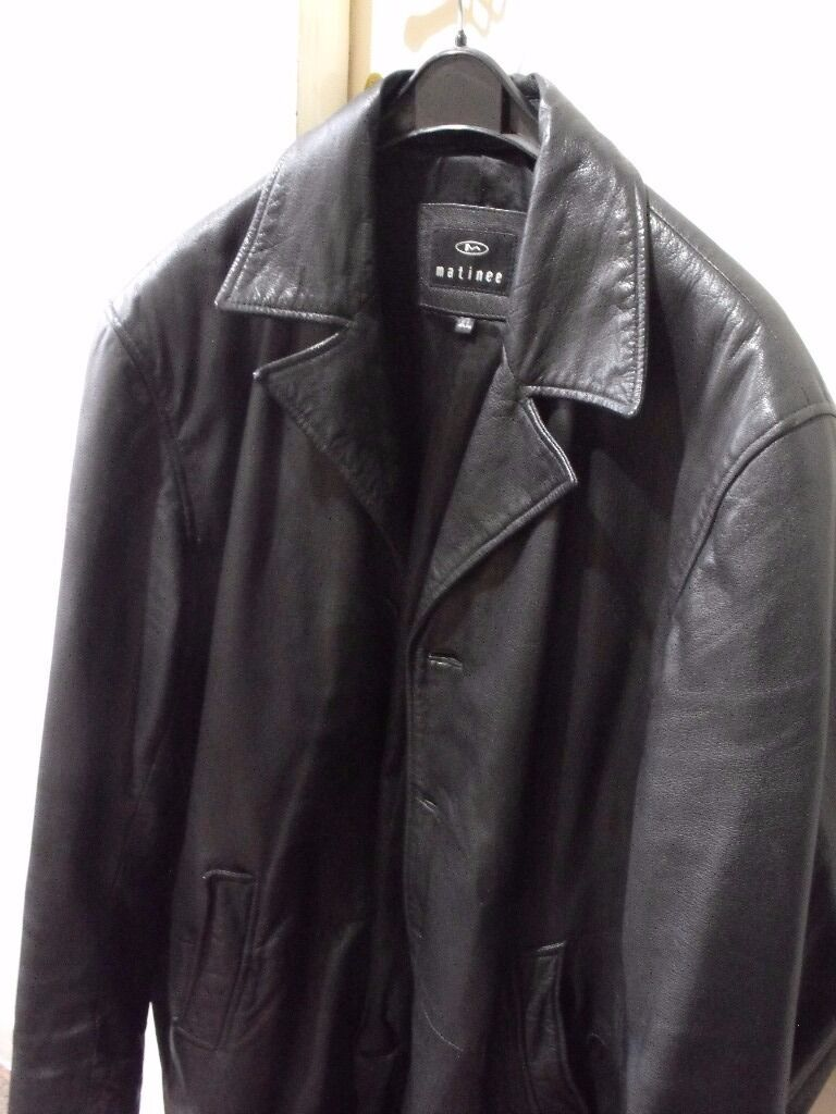 MENS BLACK LEATHER JACKET XLin Mold, FlintshireGumtree - BLACK LEATHER JACKET BY MATINEE BUTTON FRONT MID THIGH LENGTH IN EXCELLENT CONDITION PLEASE TAKE A LOOK AT MY OTHER ITEMS AM HAVING A CLEAR OUT