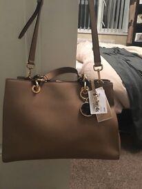Michael Kors Cynthia limited edition dark khaki handbag with matching MK purse