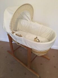 Cream Moses Basket with Wooden Rocking Stand & Mattress including 8 fitted sheets